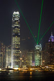 Hong Kong International Finance Center With Laser Royalty Free Stock Photos