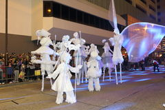 Hong Kong: Internationale Parade 2014 des Chinesischen Neujahrsfests Nacht Lizenzfreie Stockfotos