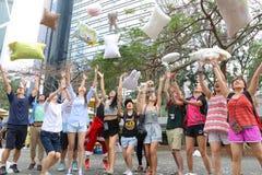 Hong Kong Intl Pillow Fight 2015 Stockfotografie
