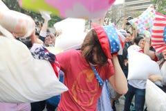 Hong Kong Intl Pillow Fight 2016 Fotografie Stock Libere da Diritti
