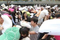 Hong Kong Intl Pillow Fight 2014 Royalty Free Stock Photos
