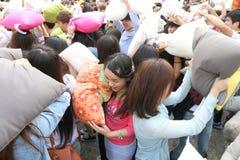 Hong Kong Intl Pillow Fight 2014 Stock Photos