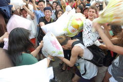 Hong Kong Intl Pillow Fight 2014 Royalty Free Stock Photography