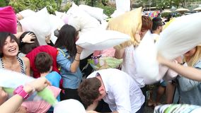 Hong Kong Intl Pillow Fight 2014 stock footage
