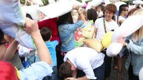 Hong Kong Intl Pillow Fight 2014. International Pillow Fight in Hong Kong stock footage