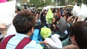 Hong Kong Intl Pillow Fight 2014 stock video