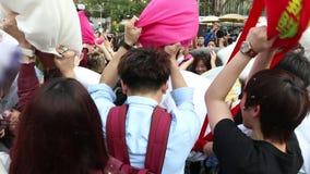 Hong Kong Intl Pillow Fight 2014. International Pillow Fight in Hong Kong stock video