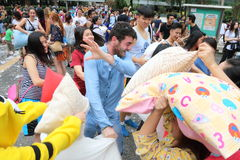 Hong Kong Intl Pillow Fight 2015 Royalty Free Stock Photos