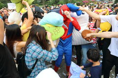 Hong Kong Intl Pillow Fight 2016 Stock Images