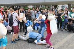 Hong Kong Intl Pillow Fight 2016 Royalty Free Stock Photo