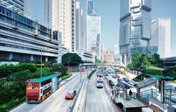 Paisaje urbano de la isla de Hong Kong Imagen de archivo libre de regalías