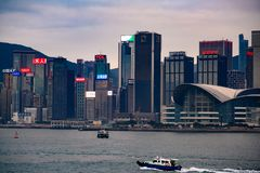 Hong Kong Island à l'aube Horizon de Hong Kong Island à l'aube images libres de droits