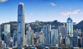 Hong Kong island with buildings wall Royalty Free Stock Images