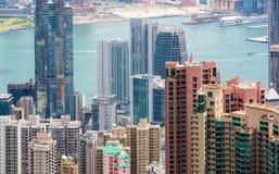 Hong Kong Island byggnader och Victoria Harbour Arkivfoto