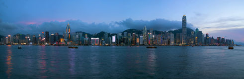 Hong Kong Island Central City Skyline Evening Royalty Free Stock Images