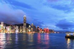 Hong Kong Island from Kowloon at dusk Royalty Free Stock Images
