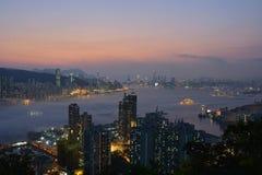 Hong Kong Island and kowloon night scene. Night scene of Hong Kong Island and kowloon, taken from Devil`s Peak Royalty Free Stock Images