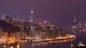 Hong Kong Island and kowloon night scene. Night scene of Hong Kong Island and kowloon, taken from Devil`s Peak Stock Photography