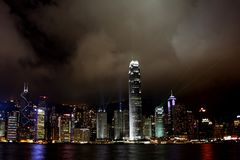 Hong Kong Island light show Royalty Free Stock Image