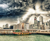 Hong Kong Island modern skyline on a beautiful evening Royalty Free Stock Photography