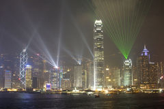 Hong Kong Island by night, Hong Kong, China. Symphony of Lights Laser show on Hong Kong Island, Hong Kong, China royalty free stock photography