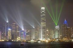 Hong Kong Island by night, Hong Kong, China. Symphony of Lights Laser show on Hong Kong Island showing all the skyscrapers illuminated, Hong Kong, China stock photography