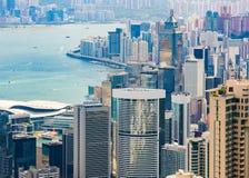 Hong Kong Island och Victoria Harbour Arkivbilder