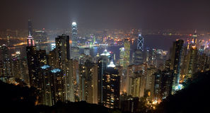 Hong Kong Island Skyline na noite do pico Fotos de Stock Royalty Free