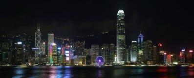 Hong Kong island skyline at night Stock Images