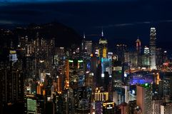 Hong Kong Island skyscrapers by night. BRAEMAR HILL, HONG KONG - MAY 30, 2013 - Hong Kong Island skyscrapers by night stock images