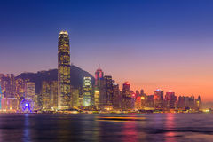 Hong Kong island at twilight scene. Stock Images