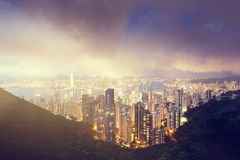 Hong Kong island from Victoria's Peak Royalty Free Stock Photo