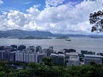 Hong Kong Island View från kinesiskt universitet av Hong Kong Arkivfoton