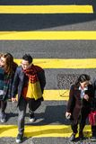 People moving on zebra crosswalk at Hong Kong stock photography
