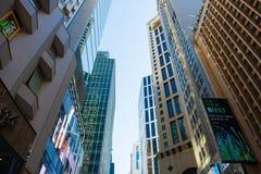 Hong Kong - Januari 13, 2018: Företags byggnader i Hong Kong Arkivfoto