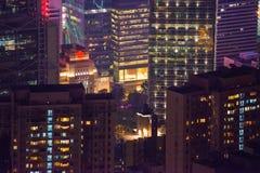 Hong Kong - Januari 11, 2018: Skyskrapasikt av den Hong Kong businen Arkivbilder