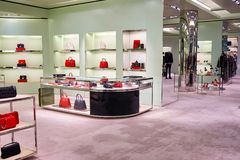 Prada store. HONG KONG - JANUARY 27, 2016: inside of Prada store. Prada S.p.A. is an Italian luxury fashion house, founded in 1913 by Mario Prada Stock Images