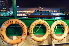 The Star Ferry is a passenger ferry service operator and a tourist attraction in Hong Kong. Life buoys close up. Hong Kong - January 25, 2016: The Star Ferry stock image
