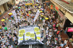 Hong Kong 1 Juli marscherar 2014 Royaltyfri Fotografi