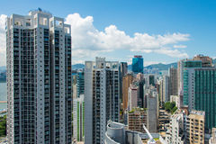 Hong Kong - JULY 27, 2014: Hong Kong skyline on Stock Images