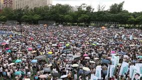 Hong Kong 1 July Marches 2014 stock footage