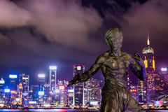 Hong Kong. JUNE 08,  bruce Lee's statue at night in Hong Kong's Stock Photography