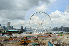 Hong Kong. JUNE 02, 2015: cunstruction progress of The  Ovservation Wheel in May. The  Ovservation Wheel is 60-meter tall ferris wheel in Central waterfront Royalty Free Stock Photo