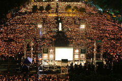 HONG KONG, JUNE 4: People join the Memorials for the Tiananmen S Royalty Free Stock Photography