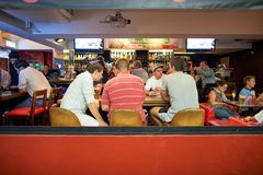 Hong Kong. JUNE 03, 2015: people rest in the bar at  at night. , is an autonomous territory on the southern coast of China at the Pearl River Estuary and the Stock Photo