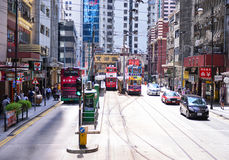 HONG KONG - JUNE 08: Public transport on the street on JUNE 08, Stock Photography
