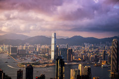 HONG KONG - JUNE 08, 2015: skyline of Hong Kong from Victoria Pe Stock Photography