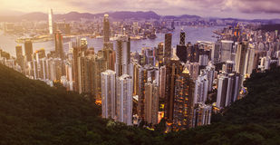 HONG KONG - JUNE 08, 2015: skyline of Hong Kong from Victoria Pe Stock Photos