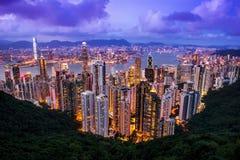 HONG KONG - JUNE 08, 2015: skyline of Hong Kong from Victoria Pe Royalty Free Stock Photos