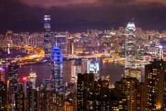 HONG KONG - JUNI 08, 2015: horizon van Hong Kong van Victoria Pe Stock Afbeeldingen